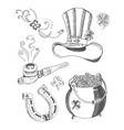 st patricks day and leprechaun accessories set vector image
