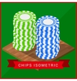 Stacked pocker Chips isometric flat vector image vector image