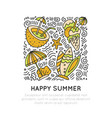 summer and beach hand draw icon concept travel vector image vector image