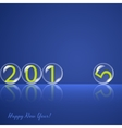 Transparent rolling glass balls on blue background vector image vector image