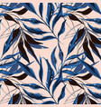 tropical pattern with palm tree banana leaves vector image vector image