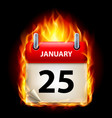 twenty-fifth january in calendar burning icon on vector image vector image