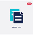 two color various files icon from education vector image vector image
