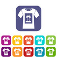 white shirt with print of man portrait icons set vector image vector image