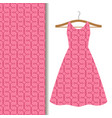 women dress fabric pink geometric pattern vector image vector image