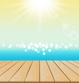 Wood Floor On Beach And sun shine for summer vector image