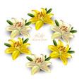 yellow lily wreath delicate floral card vector image vector image