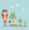 young caucasian business woman watering trees vector image vector image