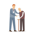 young man social worker with old man vector image