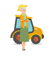 farmer standing on the background of tractor vector image