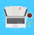 banner copywriting computer with papers vector image