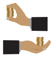 Hand with coins vector image