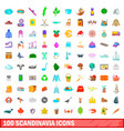 100 scandinavia icons set cartoon style vector image vector image