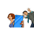 a woman takes a selfie with a man vector image vector image