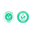 additives free icon green leaf and drop additives vector image vector image