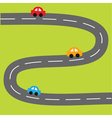Background with zigzag road and cartoon cars vector image