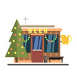beer shop front in christmas vector image