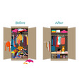 before untidy and after tidy wardrobe messy vector image vector image