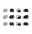 black and line speech bubble icons vector image vector image