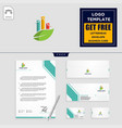 business chart with leaf logo template and vector image
