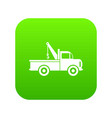car towing truck icon digital green vector image vector image