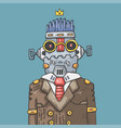 cartoon office robot funny robot manager vector image