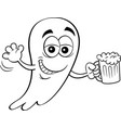 cartoon smiling ghost holding a beer vector image vector image