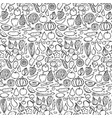 doodle vegetarian food seamless pattern vector image