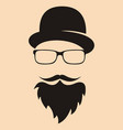 fashion silhouette hipster style hat glasses vector image vector image