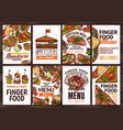 finger food and appetizers hand drawn poster vector image vector image
