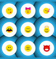 flat icon face set of joy cheerful pouting and vector image vector image