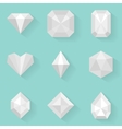 Flat icon set Diamond White style vector image vector image