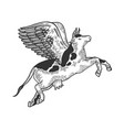 flying cow farm animal engraving vector image vector image