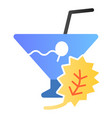 glass of detox cocktail flat icon drink color vector image vector image