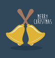 gold bell of merry christmas design vector image