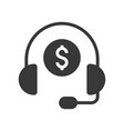 headphone and coin personal financial consultant vector image vector image