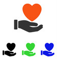 heart charity flat icon vector image vector image