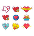 heart icon set cartoon style vector image