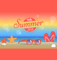 hello summer 2018 poster red sunglasses on beach vector image vector image