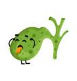 human sick gallbladder cartoon character vector image vector image