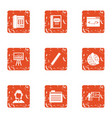 learning online icons set grunge style vector image vector image