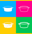 pan sign four styles of icon on four color vector image