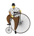 penny farthing or high wheel bicycle and fat man vector image vector image