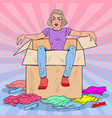 pop art tired woman in the box with clothes vector image