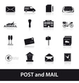 post and mail icons set eps10 vector image vector image