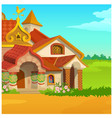poster with a fabulous royal wooden house in a vector image