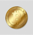 realistic gold bitcoin on transparent background vector image