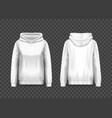 realistic white women hoody woman pullover hoodie vector image vector image