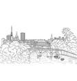 riverside street view paris city skyline vector image