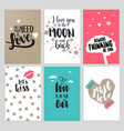 set valentine day greeting cards vector image vector image